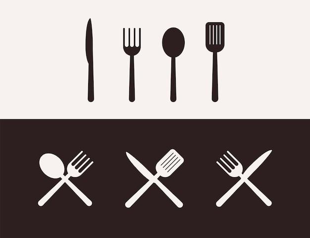シルエット調理器具料理イラスト、キッチンツールセット
