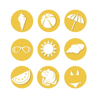 Silhouette vintage summer holiday icon set