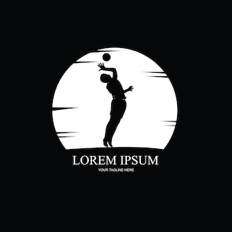 Silhouette of volleyball player, black and white illustration