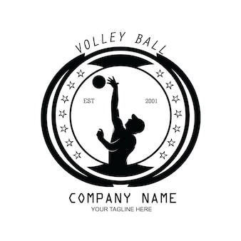Silhouette of volleyball player logo design vector