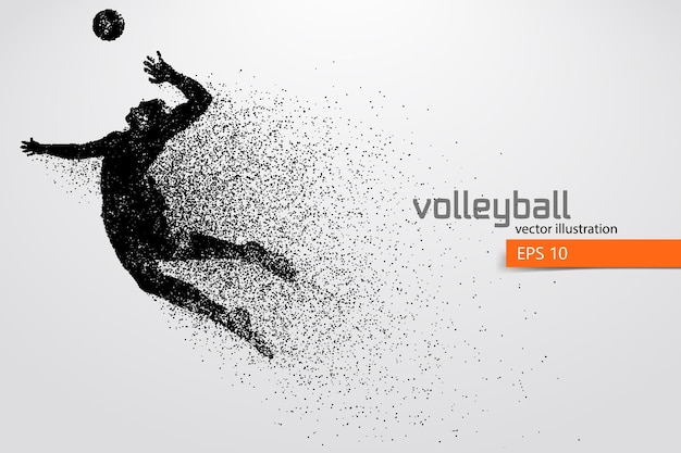 Silhouette of volleyball player, man