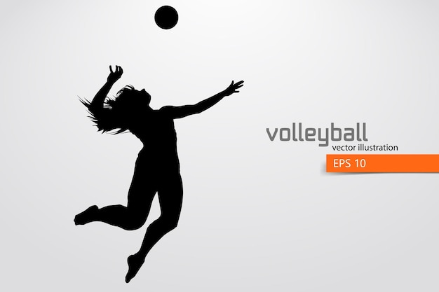 Silhouette of volleyball player, woman