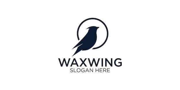 Silhouette waxwing bird logo design template