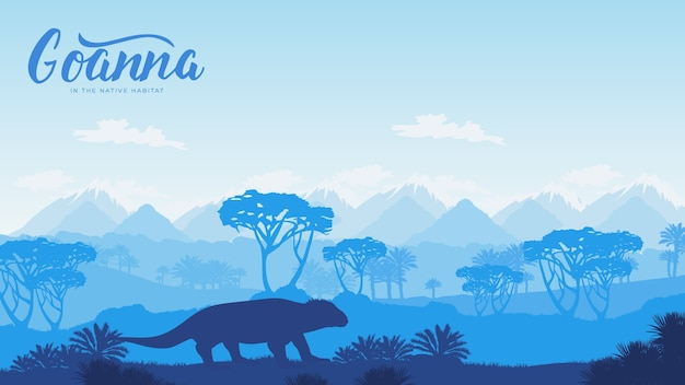 Silhouette of a wild animal in australia background. landscape of mountains