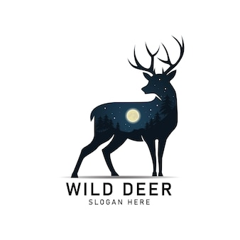 Silhouette of wild deer with moon night view. vector illustration