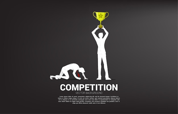 Silhouette of winner with trophy and loser on knee. business concept for people in competition