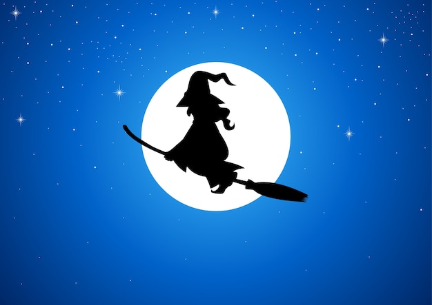 Silhouette of a witch flying with her broom during full moon