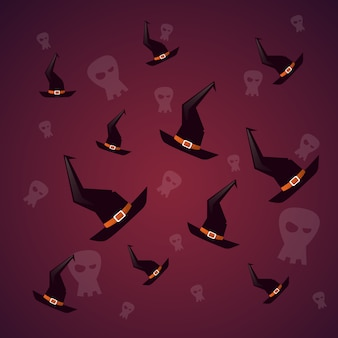 Silhouette witch hats and skull happy halloween. decoration horror party
