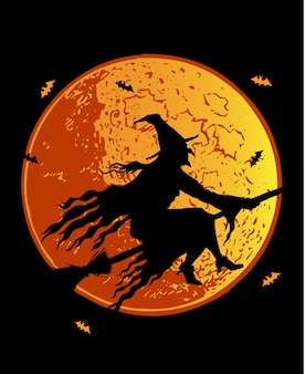 Silhouette witch vector