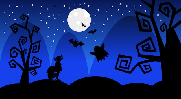 Silhouette wolf earn on moon scary shadows happy halloween illustration trick or treat concept holiday