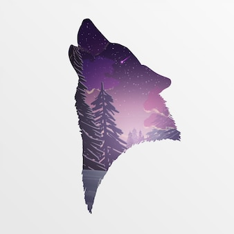 Silhouette of a wolf's head with a winter landscape in purple tones