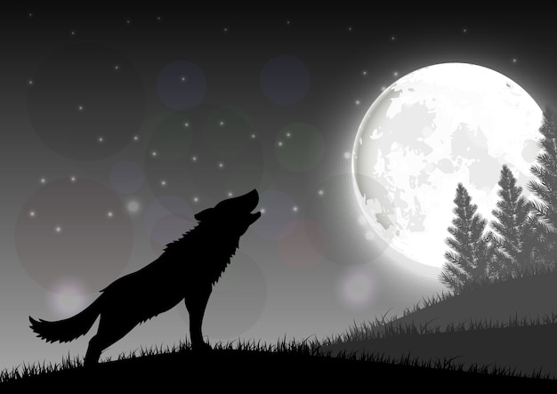 Silhouette of a wolf standing on a hill at night with moon