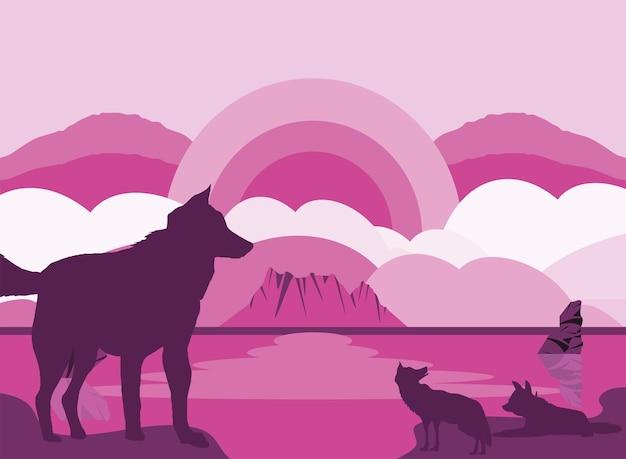 실루엣 늑대 핑크 풍경