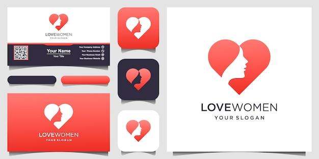 Силуэт женщины и символ сердца логотип и визитная карточка, голова, лицо логотип изолированы. используйте для салона красоты, спа, дизайн косметики и т. д.