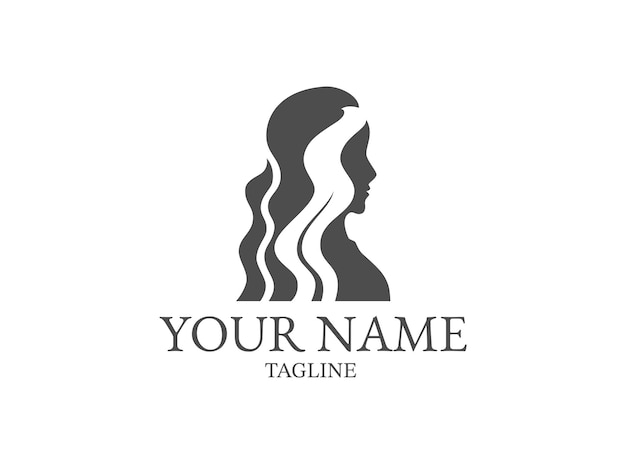 Silhouette of woman in beautiful fashion for beauty and fashion logo