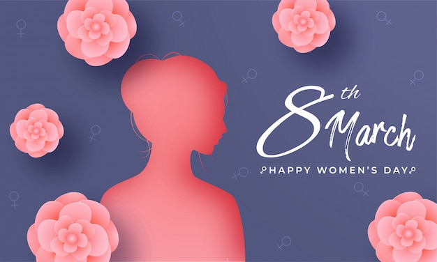 Silhouette of woman face and pink paper cut flowers decorated on blue hydrosexual sign background for 8th march, happy women's day concept.