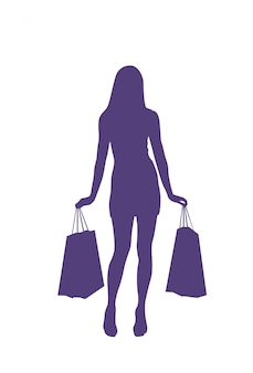 Silhouette woman holding shopping bags isolated female sales and discounts concept