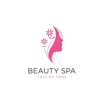 Silhouette woman logo head face logo isolated use for beauty salon spa cosmetic design