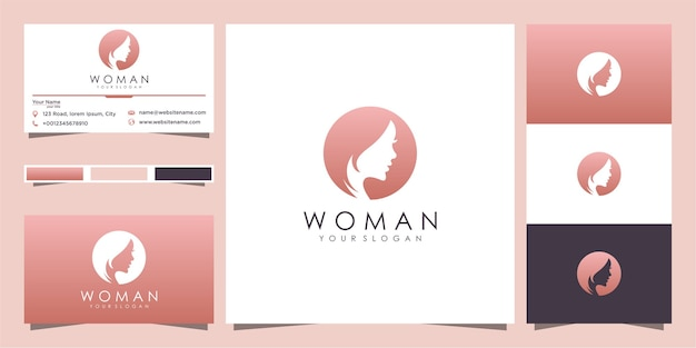 Silhouette of woman's face logo and business card design