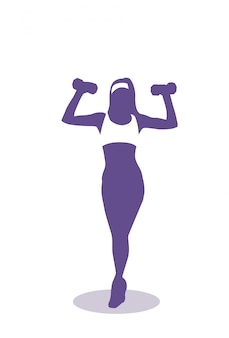 Silhouette woman training with weights exercise female fitness and aerobic concept