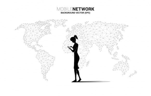 Silhouette of woman use mobile phone with world map polygon background. concept for remote work from home and technology.