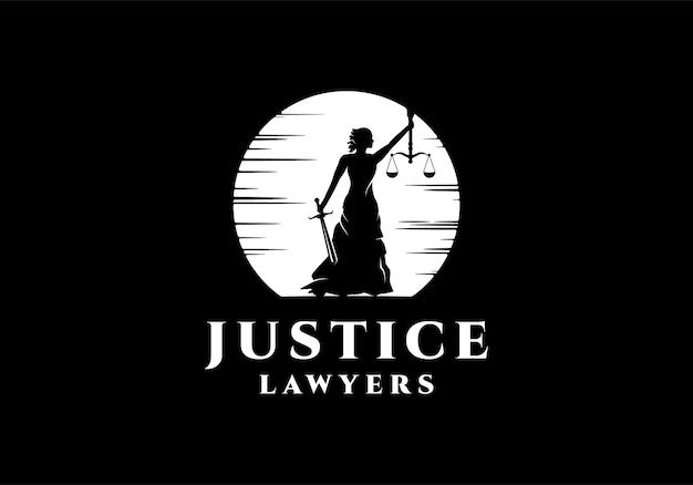 シルエットの女性、vrouwe justitia、正義の女神のロゴデザインテンプレートのインスピレーション