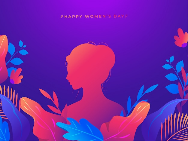 Silhouette woman with colorful nature on purple background for happy women's day celebration concept.