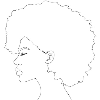 Silhouette of woman with curly hair