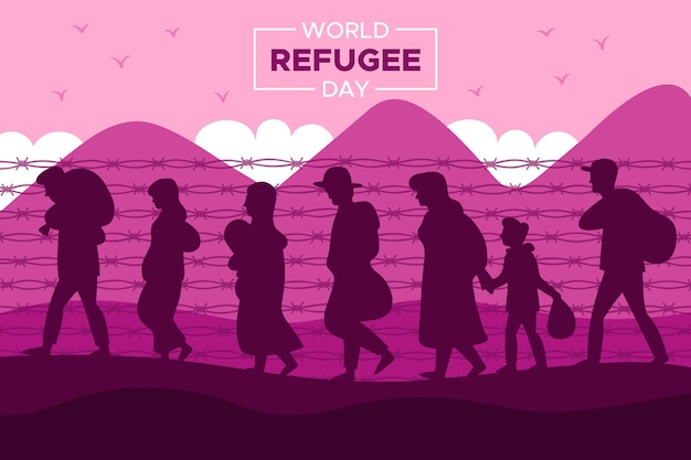 Silhouette world refugee day concept
