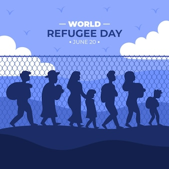 Silhouette world refugee day