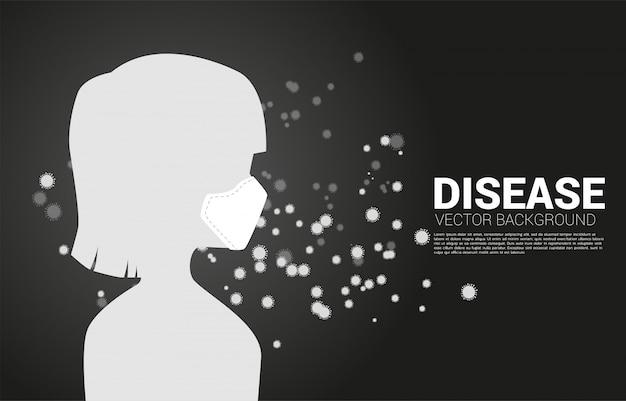 Silhouette девушка с маской и частицей wuhan или предпосылкой вируса corana. концепция гриппа и болезни.