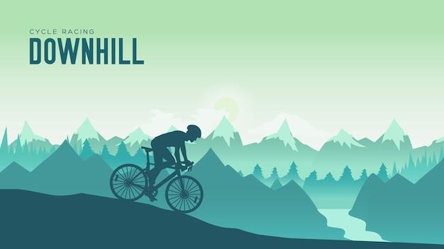 일몰 디자인에서 산악 자전거를 타는 실루엣 양 남자. 록키 힐 아래로 자전거를 타는 사이클리스트