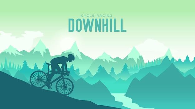 일몰 디자인에서 산악 자전거를 타는 실루엣 양 남자. 바위 아래로 자전거를 타는 사이클