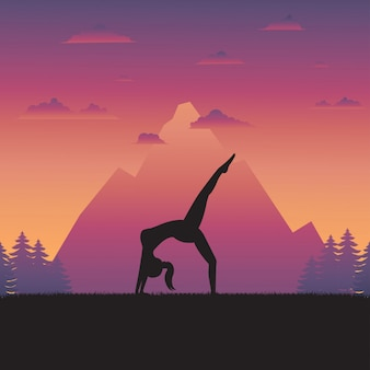 Silhouette of yoga woman on nature