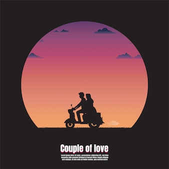 Силуэт молодая пара на мотоцикле