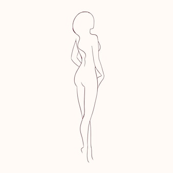 Silhouette of young gorgeous sexy naked woman with slim figure hand drawn with contour lines