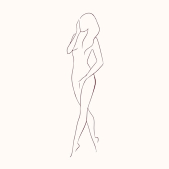 Silhouette of young graceful long-haired naked woman with slender figure hand drawn with contour lines.