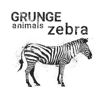 Silhouette Zebra In Grunge Design Style Animal Icon