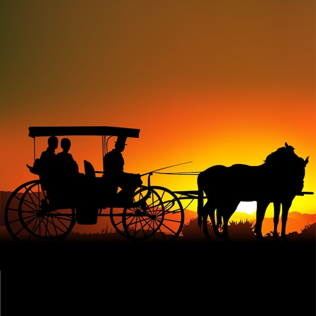 Silhouetted carriage at sunset Premium Vector