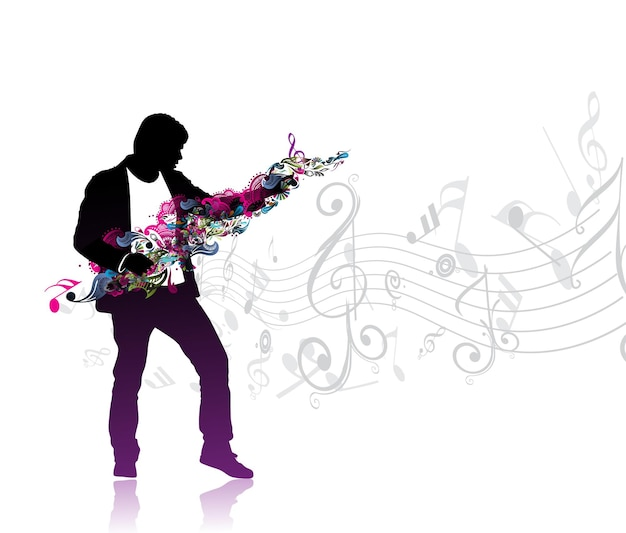 Silhouetted a man enjoy music in music note wave background, vector illustration
