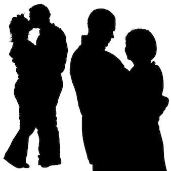 Silhouetted romantic lovers