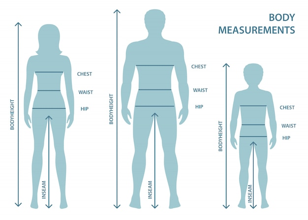 Silhouettes of adult man and women and boy in full length with measurement lines of body parameters