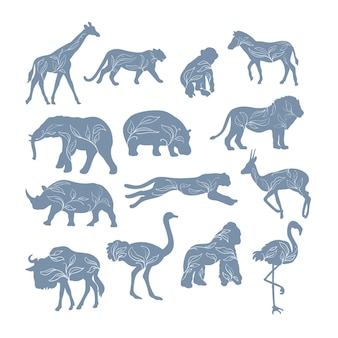 Silhouettes of african animals with decorative plants isolated
