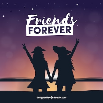 Silhouettes background of united friends