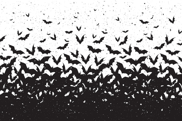 Silhouettes of bats halloween background