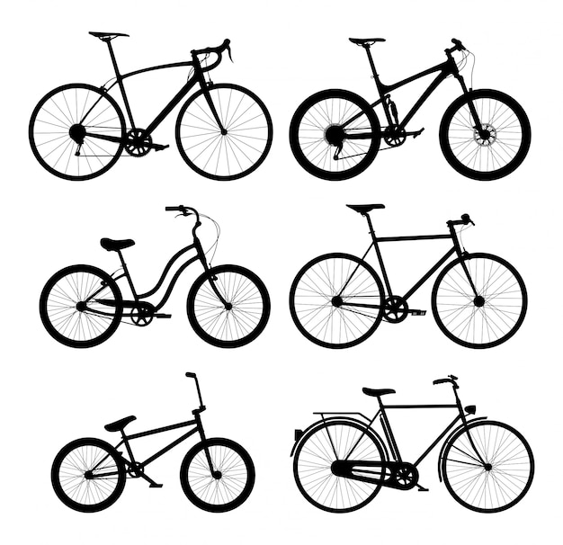 Silhouettes of bicycles set