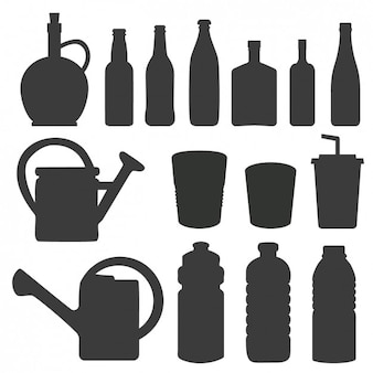Silhouettes of bottles and watering can