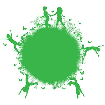 Silhouettes of children protecting the environment