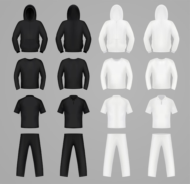 Silhouettes clothes black and white colors, hoodie, t-shirt and long sleeve, pants