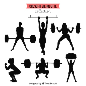 silhouettes collection of people doing crossfit